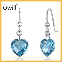 Top Quality With Wholesale Price Sterling Silver Genuine Blue Topaz Hearts Charming Diamond Band Earring For Women