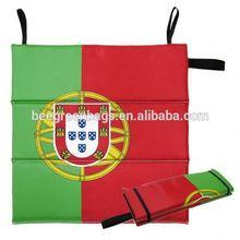 Cheap Nylon Portugal Country Flag Folding Stadium Seat Cushion with Elastic Band