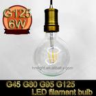 G45 G80 G95 G125 carbon filament bulb E27 6W led filament lamp