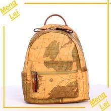 2015 backpack MAP PRINTING PU teenage bag leather backpack laptop backpack
