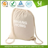 Promotional cheap printed cotton drawstring bags