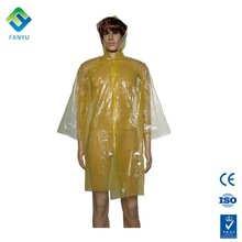 PE disposable Plastic waterproof rain coat with hat