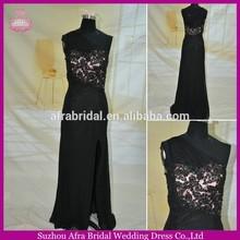 SW118 sheath chiffon skirt one shoulder black and pink sexy side split prom dresses 2014
