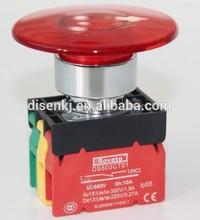 illuminated mushroom head industrial switch, 100 amp switch push button
