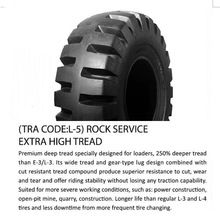 L-5 series OTR tire size 20.5-25 rock service extra high tread used for loaders