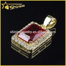925 sterling silver hip hop men's ruby corundum pendant