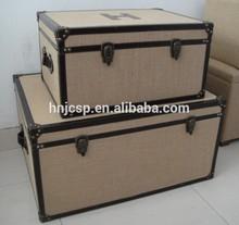 Decorative burlap fabric set of 2 rectangular storage steamer trunk