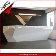 Modern White Class Diamond Shape Reception Desk