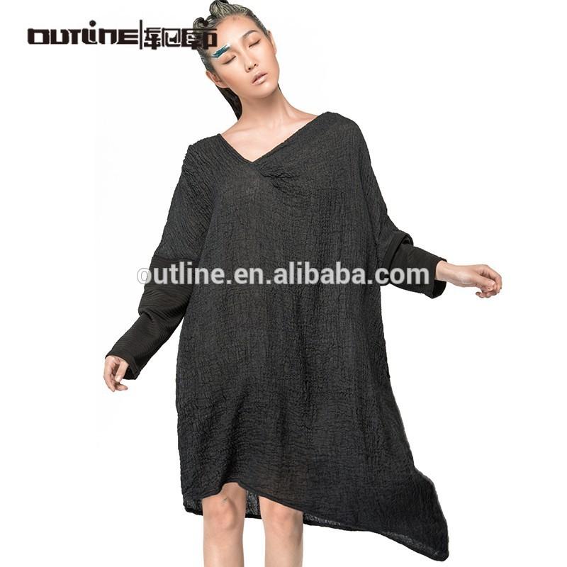 2015 um pedaço v- pescoço assimétrica hem manga comprida vestido de festa preto para as mulheres obesas