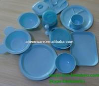2015 newest PLA kids dinnerware sets Bright Blue color