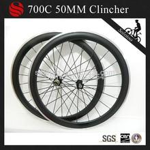 700c carbon fiber bike wheelset,carbon alloy wheelset 50mm, clincher carbon wheels aluminum brake surface