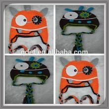 Best selling 100 cotton baby cap funny newborn baby orange monster beanie hat crochet cap free