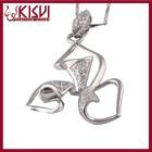 925 Sterling Silver Diamond Pendant Necklace, Winnower Childhood Pave Zircon