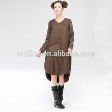 Marque d'origine élégant grande taille Handmake brodé lâche coton femmes tunique