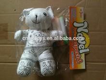 "8""graffiti plush bear toy include four color pen"