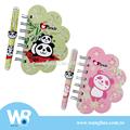 panda lindo mini pluma de bola y cuaderno de flores de regalo conjunto