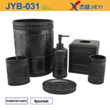 6pcs Black Carving Pattern Home Accessories,Polyresin Bath Set,Bathroom Vanity Tops
