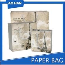 2015 fashion design Eiffel Tower printed luxury paper shopping bag