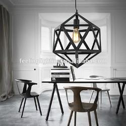 Antique industrial Chandelier e27 black/rustic Loft polyhedron pendant light from zhongshan factory