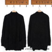 vento nazionale stile retrò nero a maniche lunghe maglione cardiganin maglia cappotto lungo