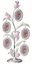 Rose silver metal tree photo frame