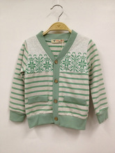 Boy stripped cardigan flower design sweater children apparel