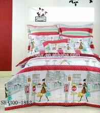 Fashion Shopping Girl Full Size Stitching bedroom Quilt Set