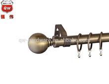 22/25mm antique brass window curtain rod set steel metal curtain pole set 120-210cm
