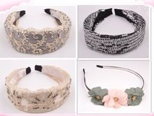2015 fashion platic fabric lace flower hair headbands