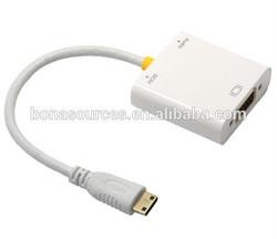 Wholesale 1080p white color male to female adapter cable mini hdmi vga rca