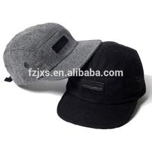 Black and Grey 100% Wool 5 Panel Blank Cap