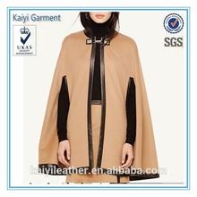 oem 2015 yeni moda toptan panço kış yün bayan pelerin
