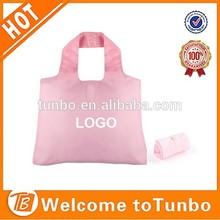 2015 new product Pink nylon reusable shopping bag