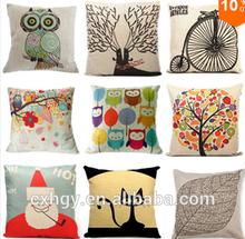 "New Home Decorative Sofa Cushion Cover Throw Pillow Case 18"" Vintage Decorbox Cotton Linen Square Cute Cartoon Owl"