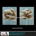100% pintados à mão de prata flor da papoila com luz azul backgroup antigo papoilas pintura da lona