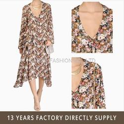 Beautiful Floral Print Chiffon Long Maxi Dress lady beach dress