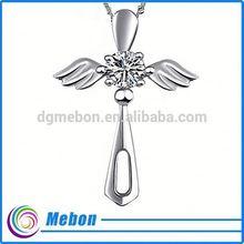 large sterling silver angel wing cross pendant