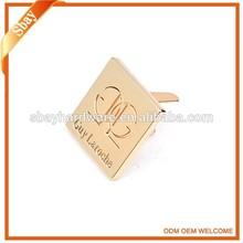 prongs type customized engraved metal logo for handbags