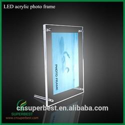 LED acrylic photo frame with magnets
