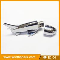 Metal shiny airplane usb flash drive for OEM&ODM