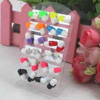Cute Cheap Color Matching Pill Capsule Design Resin Plastic Stud Earrings With Iron Stick
