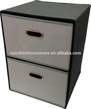 folding fabric drawer organizer with 2 storage drawers