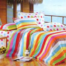 New Design Wholesale 4pcs 3d 100% Cotton Dot & Strip Bright Color Bedding Sets