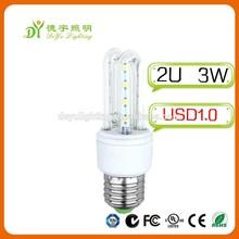 2015 Recommedationt! China SMD3014 Led lamp E14/ E27/B22 3 W 2U 3U New Led corn Light