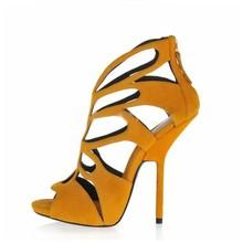 2015 milan fashion new design microfiber ultra high heels women sexy prom yellow shoes