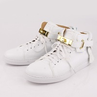 new designer mens leather high top sneakers fashion dress shoes white