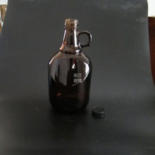 Wholesale wine glass bottle with cap 1.5L 2L 3L glass bottle with small handle
