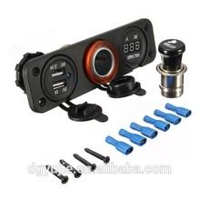 NEW 12V Car Cigarette Lighter + Dual Socket &USB Adapter Charger & Voltmeter