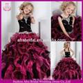 Sd660 preto e rosa bola vestido de babados meninas pageant flor- menina- vestido- padrões