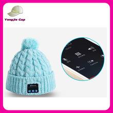 Bluetooth custom winter knit plain acrylic pom pom beanie